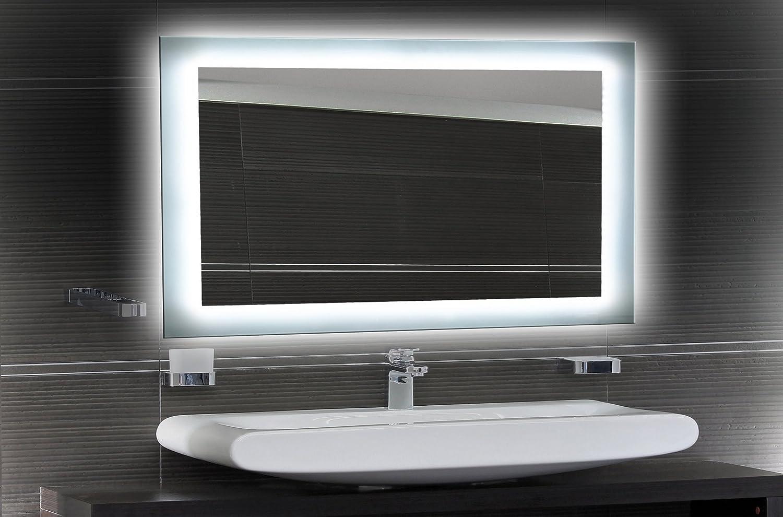 Badezimmerspiegel mit Beleuchtung LED Spiegel - 100x60 cm - Badspiegel mit Licht - Design Spiegel für Bad und Gste WC hinterleuchtet - beleuchteter Wandspiegel Rahmenlos - O-LED