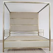 Bombay B1005QB2511 SOHO Metal Canopy Queen Bed with Adjustable Floating Nightstands, Brass Cream