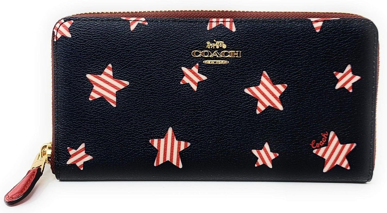 Coach Women's Patent Crossgrain Leather Accordion Zip Wallet (NAVY/ RED MULTI)