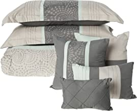 Chic Home 43CK117-AN 8-Piece Euphoria Embroidered Comforter Set, King, Dark Grey/Green