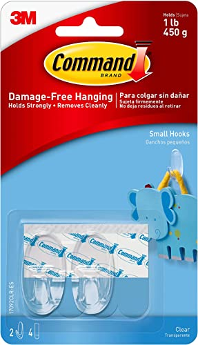 Command - 17092CLR Small Hooks,Transparent, Holds 450 gm, (2 Hooks, 4 Strips),No Drilling, Holds Strong, No Wall Damage