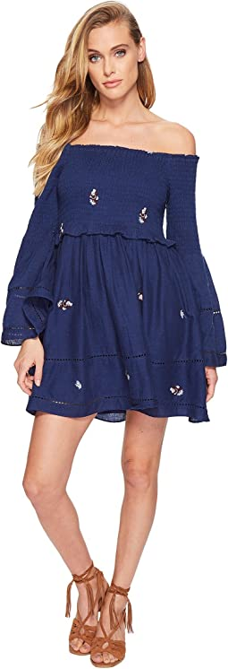 Free People - Counting Daisies Embroidered Mini Dress