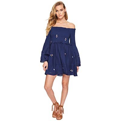 Free People Counting Daisies Embroidered Mini Dress (Blue Combo) Women