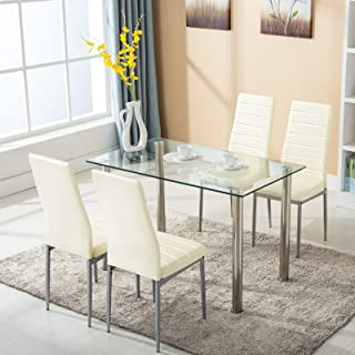 mecor 5 Piece Dining Table Set Glass Top Dinette Sets with 4 Leather Chairs,Light Yellow