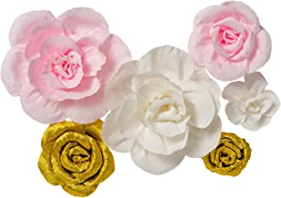 Crepe Paper Flowers Set of 6,Handcrafted Flowers,For Gold Party,Baby Nursery Home Decor,Baby Showers,Birthday,Wedding,Archway Decor(Shiny Gold+White+Pink)