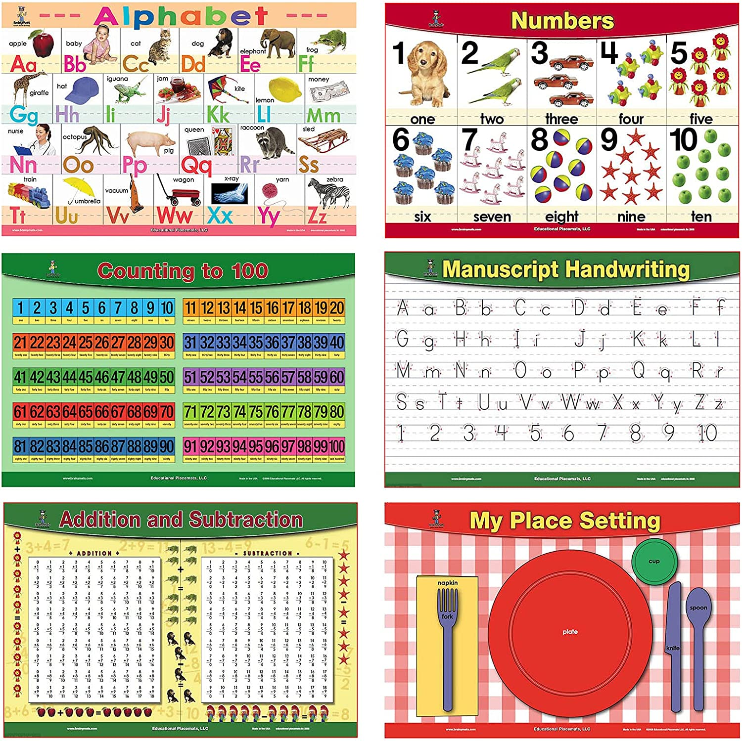 Brainymats Educational Placemats for Kids (Basic Skills Set of 6 Mats) Alphabet Mat and More-Easy Clean Plastic Learning Table Mat for Kids with Colorful Pictures – Ideal for Kids Learning