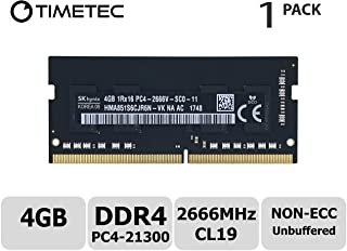 Timetec Hynix 4GB DDR4 2666MHz PC4-21300 Unbuffered Non-ECC 1.2V CL19 1Rx16 undefined 260 Pin SODIMM Laptop Notebook Computer Memory RAM Module Upgrade (4GB)