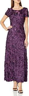 Women's Long A-line Rosette Dress with Short Sleeves Sequin Detail