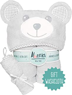 Organic Baby Hooded Towel and Washcloth Set - Premium Bamboo Hooded Bath Towel with Cute Ears - Soft, Large Baby Towel with Hood for Infant, Toddler - Unisex for Boy or Girl - Grey Bear
