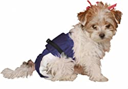 SammyDoo Pet Diaper Wrap Fits, Approximately 3-Pound to 6-Pound, 8 to 11-Inch, Girth 14 to 18-Inch, X-Small, Blue