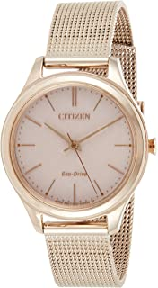 CITIZEN Womens Solar Powered Watch, Analog Display and Stainless Steel Strap - EM0503-83X