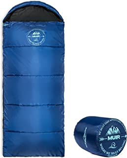 Compact Lightweight Muir Spring Summer Fall Sleeping Bag Youth 40°F/5°C with Digital Accessory Pocket Compressing Carry Bag Included.