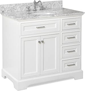Aria 36-inch Bathroom Vanity (Carrara/White): Includes a White Cabinet with Soft Close Drawers, Authentic Italian Carrara Marble Countertop, and White Ceramic Sink