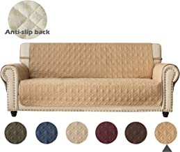 Ameritex Anti-Slip Couch Cover for Leather with Anti-Skip Dog Paw Print 100% Waterproof Quilted Furniture Protector Slipcover for Dogs, Pets Sofa Slipcover for Leather Couch (Pattern1:Sand, Sofa)