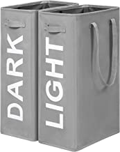 Chrislley 2 Pack Laundry Hampers Dark Light with Handles Sturdy Laundry Baskets Large Capacity Tall Collapsable Laundry Ba...
