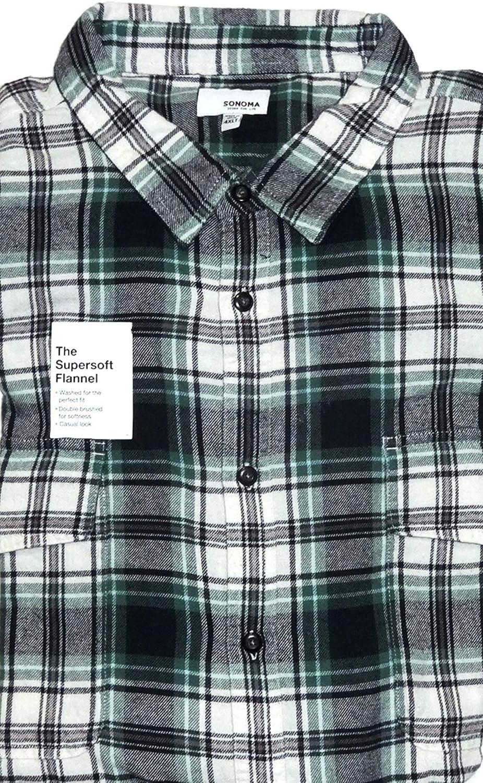 Sonoma Men's Classic Fit Flannel Navy Plaid Buttoned Down 2 Pockets 4XLT