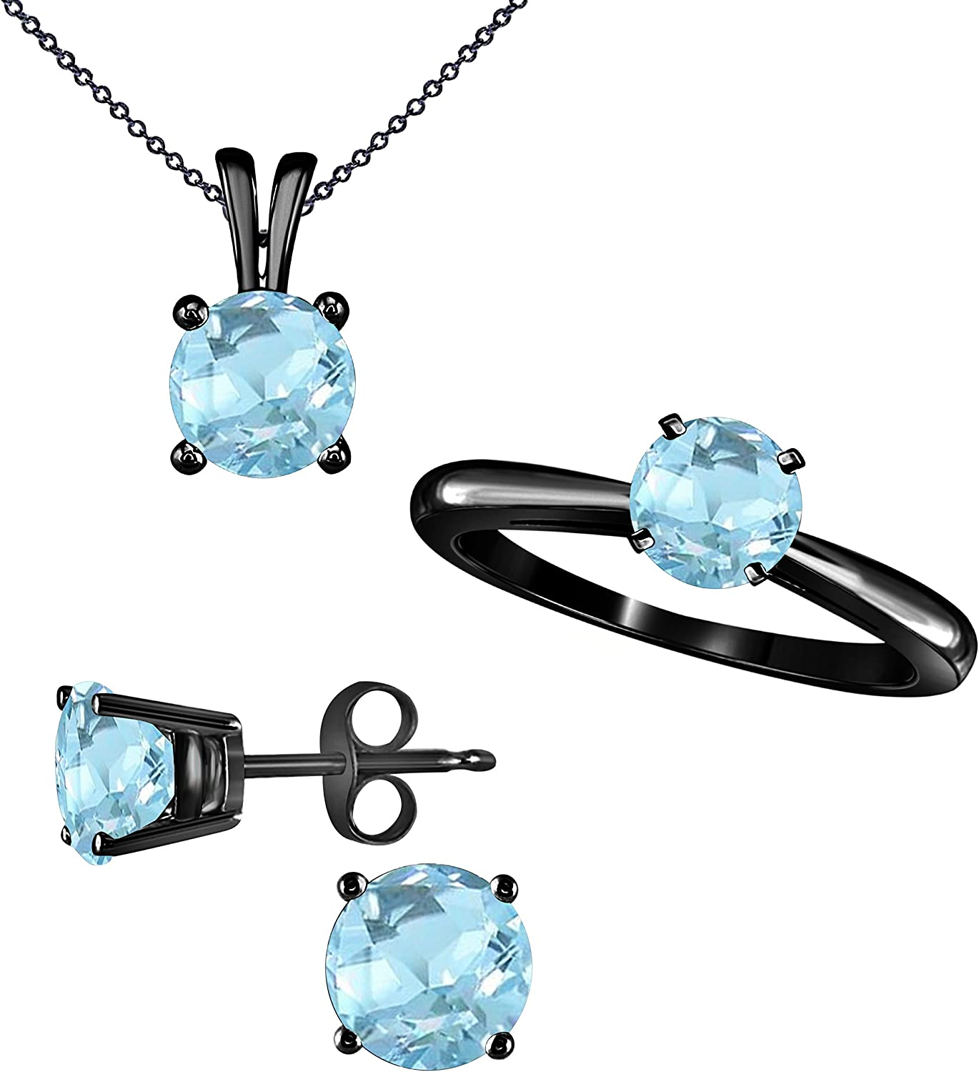 Birthstone Sets 6 MM Round Cut Created Aquamarine Ring, Pendant and Matching Earrings Set in 14k Gold Plated Alloy Jewelry Sets for Women's