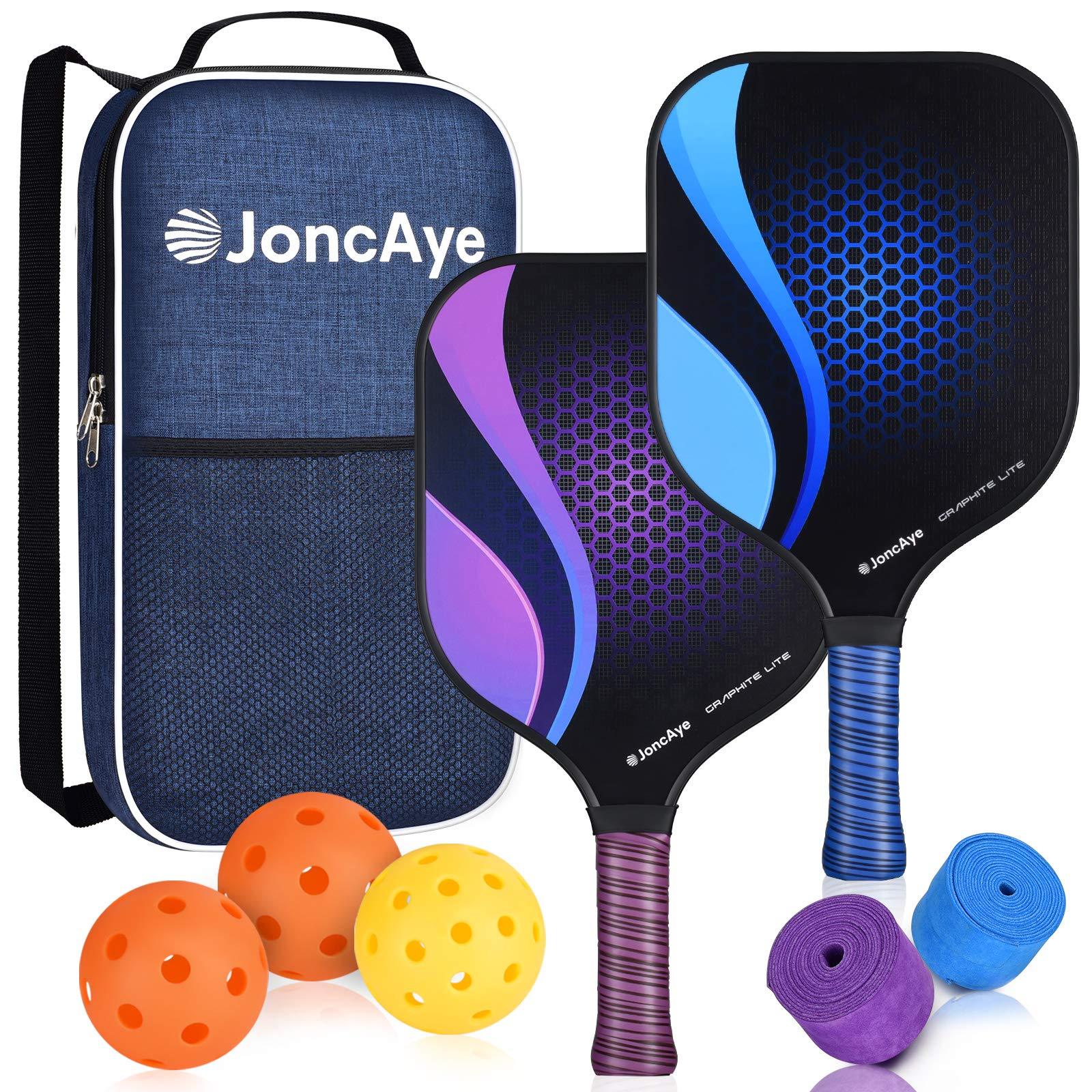 JoncAye Pickleball Paddles Set of 2 Pickleball Set with 2 Li