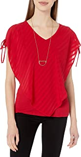 A. Byer Women's Junior's Split Sleeve Popover Top Blouse