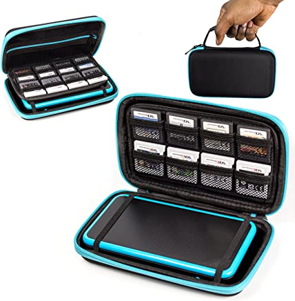 2DS XL Case, Orzly Carry Case for New Nintendo 2DS XL - Protective Hard Shell Portable Travel Case Pouch for New 2DS XL Console with Slots for Games & Zip Pocket - Blue on Black