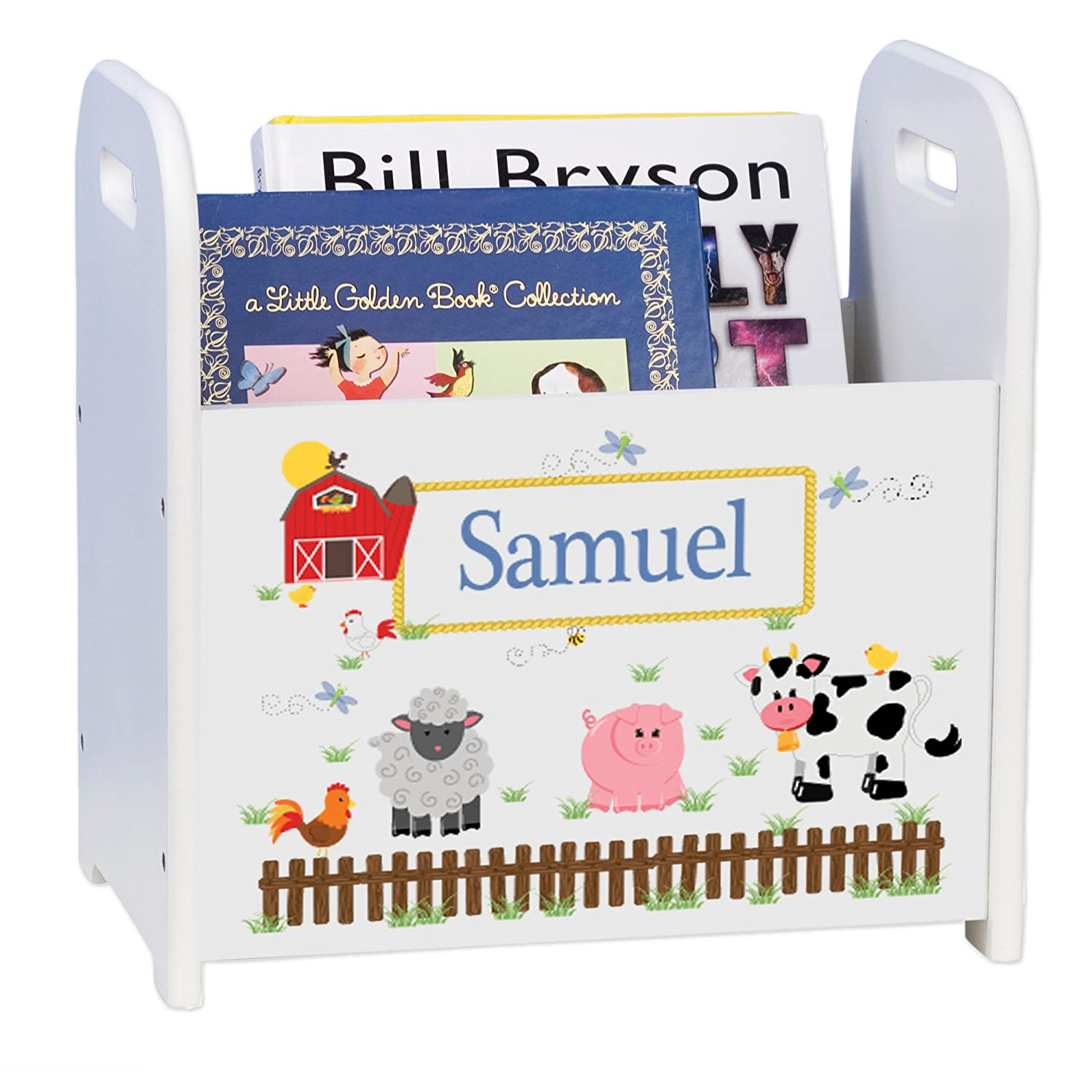 Personalized Barnyard Friends Direct store Pastel latest White Book Rack Caddy and