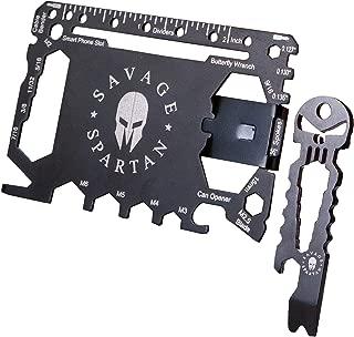 Savage Spartan Multitool Wallet | 36 in 1 Multifunctional Toolcard Pro with Credit Card Holder Money Clip & Sleek Minimalist Stainless Steel Skull Keychain Pocket Survival Multi-Tool for Men