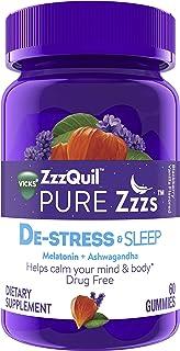 ZzzQuil PURE Zzzs De-Stress & Sleep Melatonin Sleep Aid Gummies with Ashwagandha, Chamomile, Lavender, & Valerian Root, 1mg per gummy, 60 ct