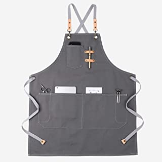 KINIVA Apron with Pockets for Men Women, Chef, Waiters, Artists, Work Aprons for Grill Kitchen Restaurant Bar Shop Grey 44