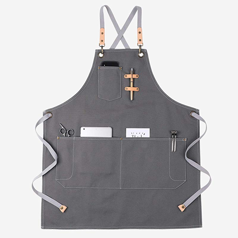 KINIVA Apron With Pockets For Men Women Chef Waiters Artists Work Aprons For Grill Kitchen Restaurant Bar Shop Grey 44
