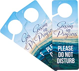 Juvale Do Not Disturb Sign - 3-Pack Do Not Disturb, Session in Progress Hanger, Double Sided Plastic Door Knob Hanger for Therapy Session, Massage, Spa Treatment, Counseling, 9.4 x 3.5 Inches