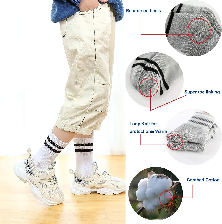 Oohmy Boys Girls Socks 8 Packs Terry Loop Cushioned Athletic Ankle Socks