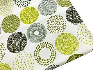 北欧風 生地 布 もっと大きなサークル柄 (柄の直径12cm)【1】グリーン 生地幅110cm×1.5m 全3色 綿オックス コットン100% 手芸 手作り ハンドメイド 商用利用可