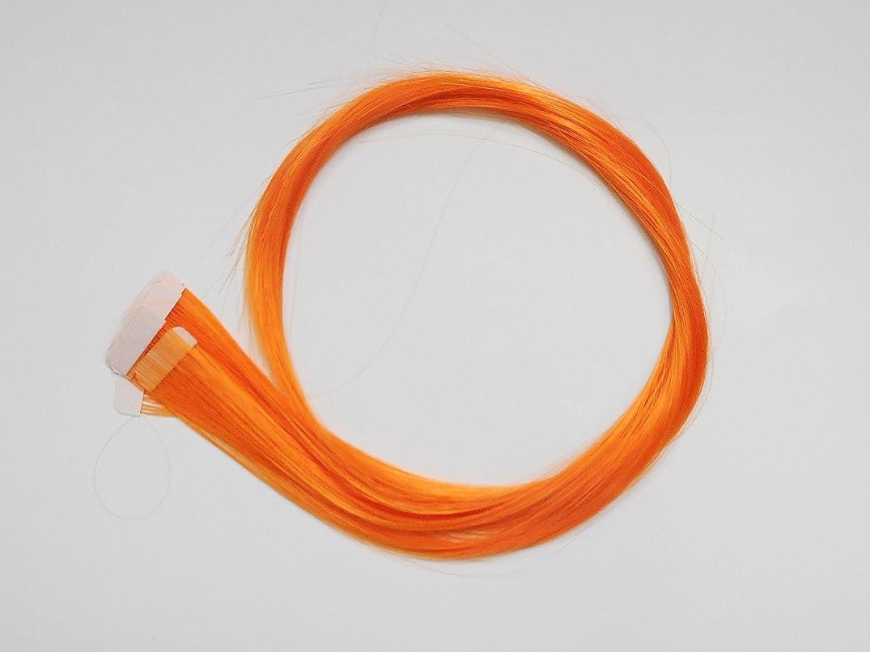 ジャーナル髄踊り子簡単エクステ テープエクステンション シールエクステンション 10枚入 10色カラー (オレンジ)