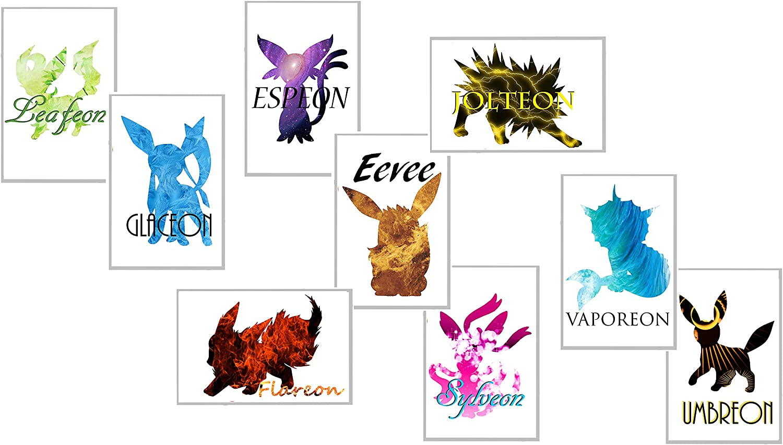 Elemental Cutouts Pokemon Eevelutions Set of 9 - Eevee, Espeon, Glaceon, Flareon, Jolteon, Leafeon, Sylveon, Umbreon, Vaporeon Nine Individual 11x17 inch Prints