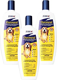Zodiac Oatmeal Flea and Tick, Dog and Puppy Conditioning Shampoo 18oz (3 Pack)