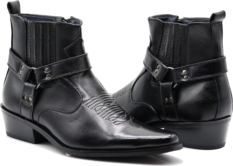 WSTN01 Men's Western Boots Side Pointy Sale SALE% OFF Boot Zipper 2021 model Fashion Strap