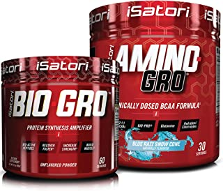 iSatori Bio-GRO Protein Synthesis Amplifier - Unflavored (60 Servings) & iSatori Amino-GRO BCAA Powder - Blue Razz Snow Co...