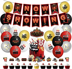 Movie Night Decorations,Hollywood Party Decorations Kit,Now Showing Banner,Movie Night Themed party Decorations cupcake topper,Balloons Theater Themed for Bridal Shower Birthday Party Supplies Film