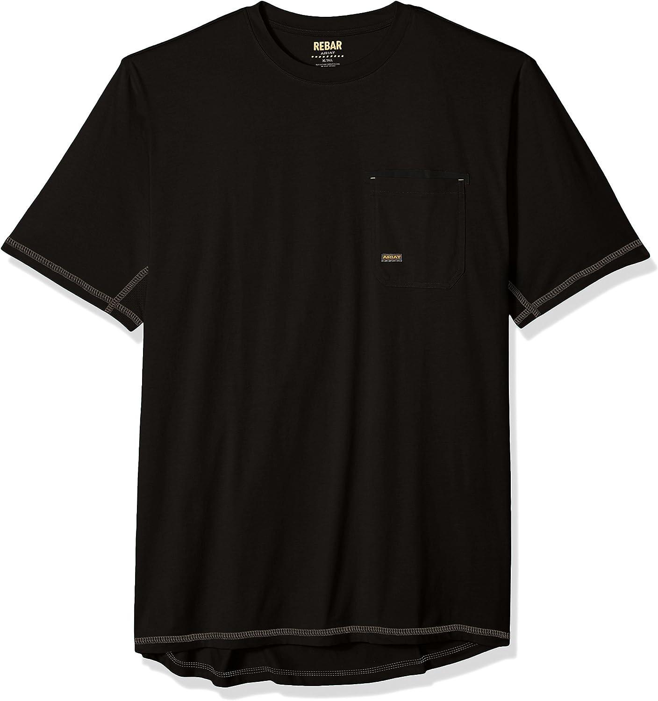 Ariat Men's Big and NEW before selling ☆ Tall Arlington Mall Rebar Short Shirt CrewHenley Sleeve