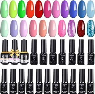Creamify Esmaltes Semipermanentes de Uñas en Gel-21 Colores Esmaltes de Uñas en Gel con 3*8ml Base Kit de Esmaltes de Uñas...
