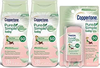 Coppertone WaterBabies Pure & Simple Mineral Based Lotion + Stick SPF 50 Multipack (6-Fluid Ounce Bottle, Pack of 2 + 1 .5 Ounce Stick)