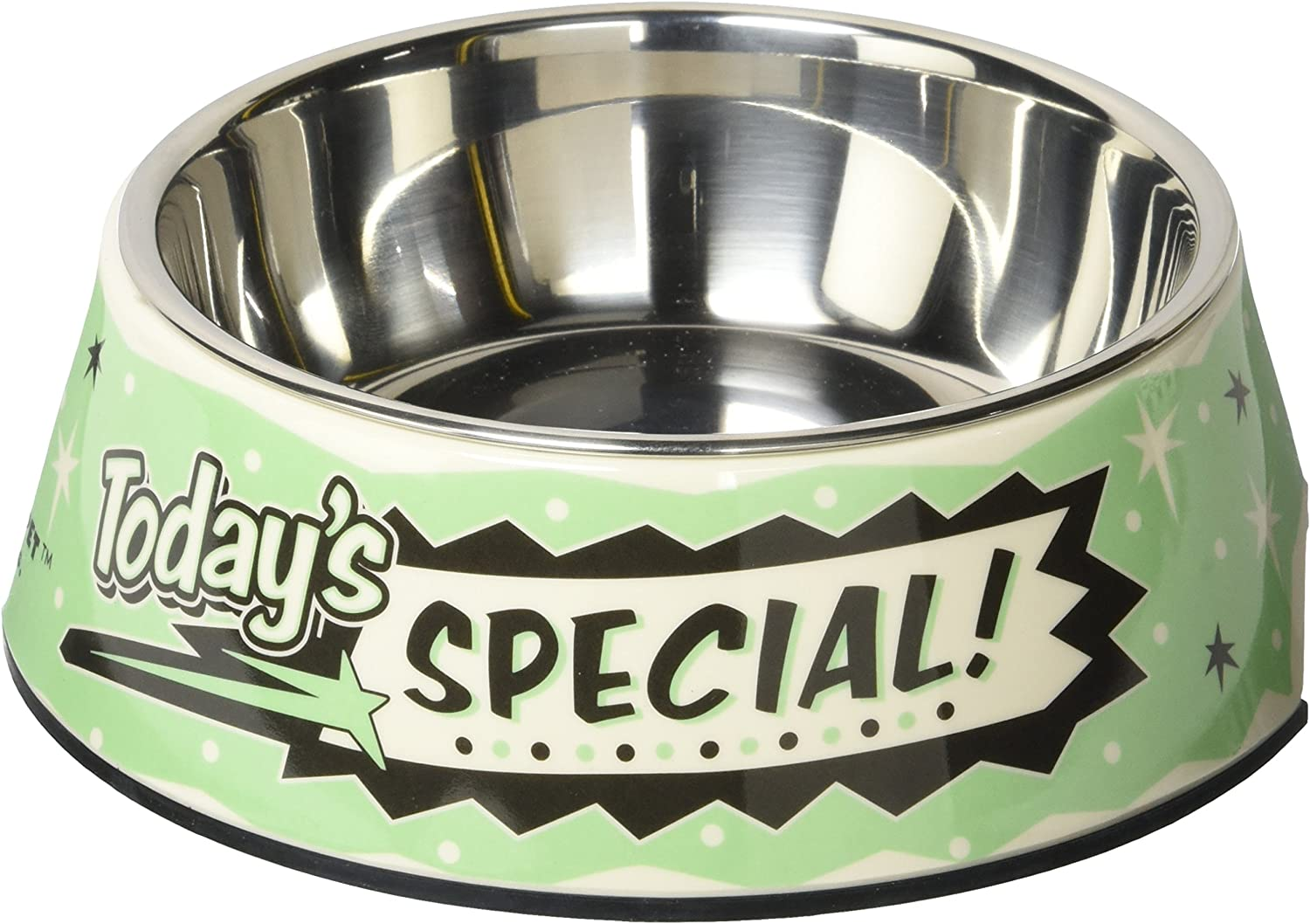 Punchline Pet 'Today's Special' Retro Melamine Dog Bowl with Stainless Steel Dog Bowl Insert, 12 oz