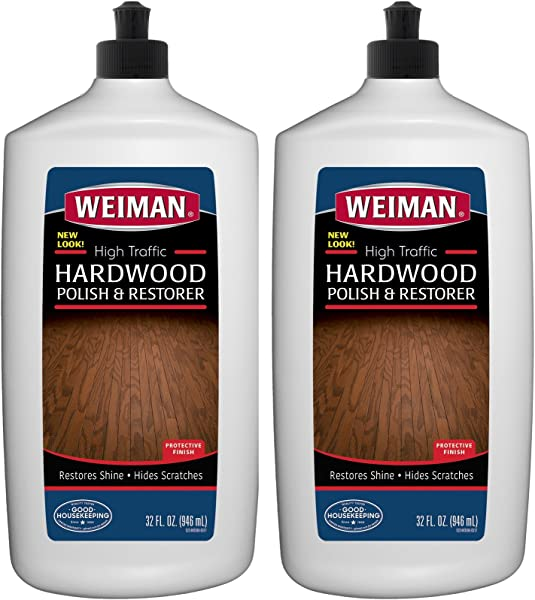 Weiman Wood Floor Polish And Restorer 32 Ounce 2 Pack High Traffic Hardwood Floor Natural Shine Removes Scratches Leaves Protective Layer