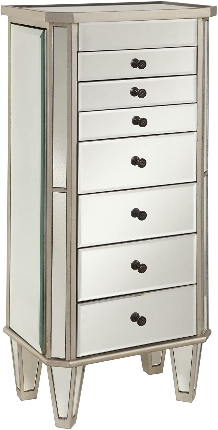 Powell Jewelry Armoire Wood, Silver Mirrored : Clothing, Shoes & Jewelry