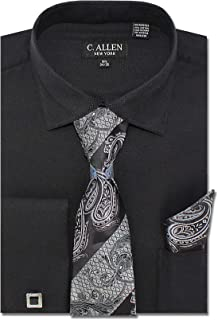 Men`s Solid Square Pattern Regular Fit French Cuffs Dress Shirts with Tie Hanky Cufflinks Combo