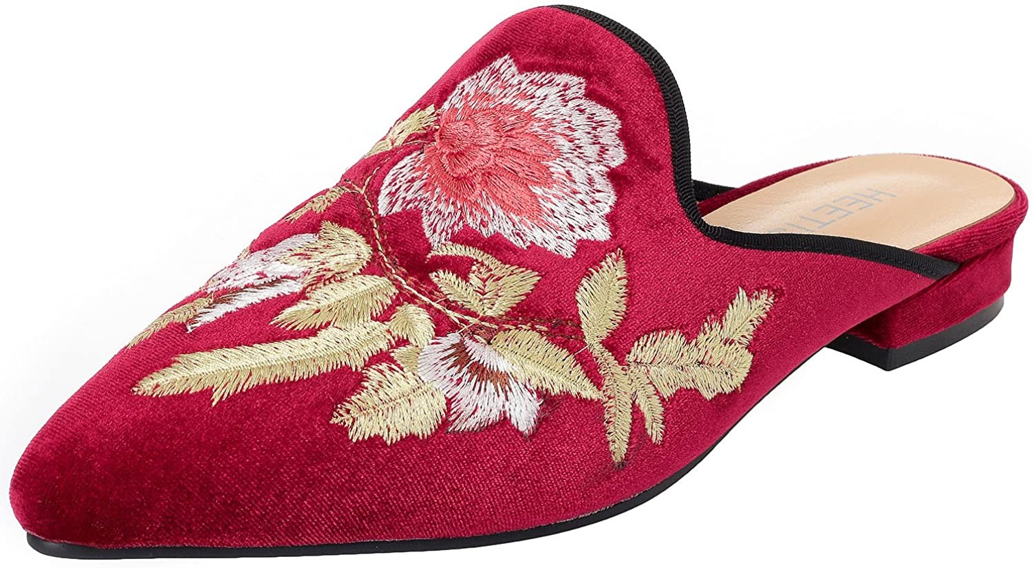 HEETIST Women's Hasiant Velvet Backless Loafer Flat with Flower Embroidery Mule Suede Slippers