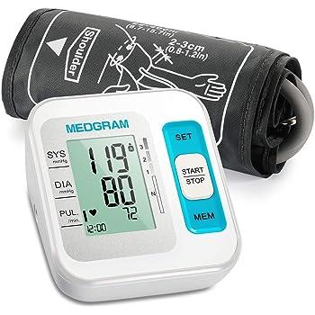 Misuratore Pressione da Braccio, MEDGRAM Pressione Misuratore Braccio Professionale, Sfigmomanometro da Braccio Pressione Arteriosa Digitale, Rilevazione dell'aritmia,Grande Schermo LCD, 2*120 Memoria