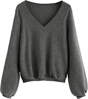 Women's V Neck Jumper Bishop Sleeve Ribbed Basic Pullovers Sweater