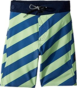 Stripey Elastic Boardshorts (Little Kids/Big Kids)