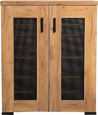 Coaster Home Furnishings Metal Mesh Door Accent Cabinet, Golden Oak and Gunmetal